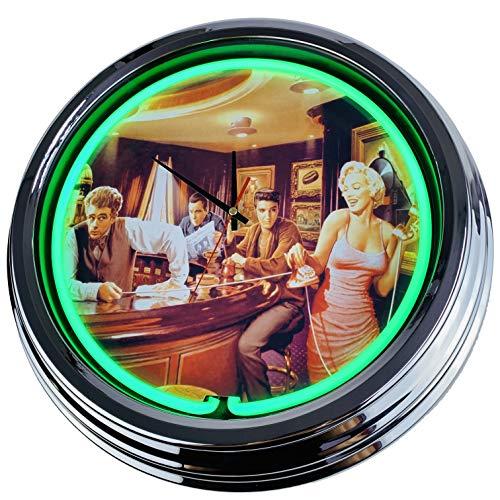 Neon Uhr Java Dreams Wanduhr Deko-Uhr Leuchtuhr USA 50's Style Retro Neonuhr Esszimmer Küche Wohnzimmer Büro (Grün)