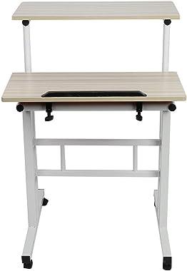 Bureau Informatique à Roulettes Réglable en Hauteur Assis-debout Bureau Informatique sur Roulettes Table d'ordinateur Table I
