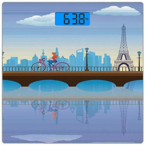 Escala digital de peso corporal de precisión Square Paisaje Báscula de baño de vidrio templado ultra delgado Mediciones de peso precisas,Señora en bicicleta en Francia Fluffy Clouds Bridge Reflection