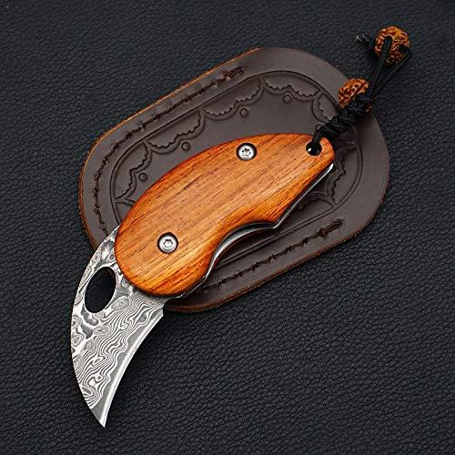 Damast Taschenmesser Klein Mini Klappmesser Holzgriff Damaststahl Messer Damastmesser mit Ledertasche