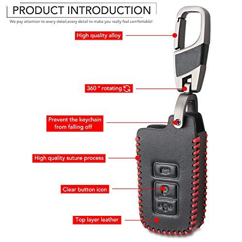 KLVRD Sleutelhanger Voor 3 Knop Lederen Sleutel Fob Shell Cover Case Voor Toyota Camry Corolla Avalon Rav4 Land Cruiser Auto Afstandsbediening Sleutelhouder Beschermer