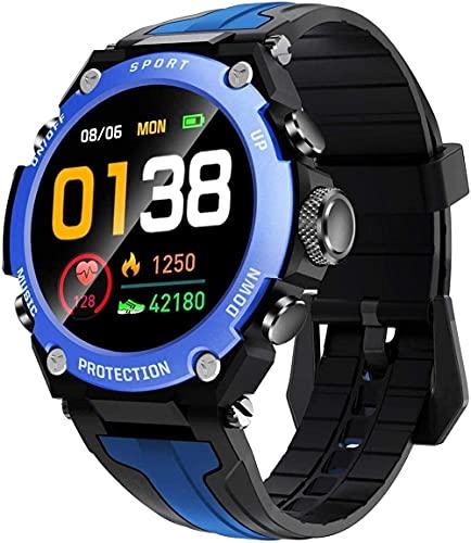 hwbq Relojes inteligentes para hombres y mujeres 1.3 Bluetooth reloj inteligente IP68 impermeable actividad Tracker con monitor sueño brújula reloj inteligente azul