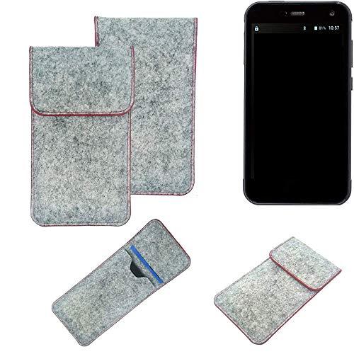 K-S-Trade® Handy Schutz Hülle Für Cyrus CS 28 Schutzhülle Handyhülle Filztasche Pouch Tasche Hülle Sleeve Filzhülle Hellgrau Roter Rand