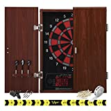 """Dartboard Cabinet Set 15.5"""" Regulation Electronic Board Game with Integrated Wood Door"""