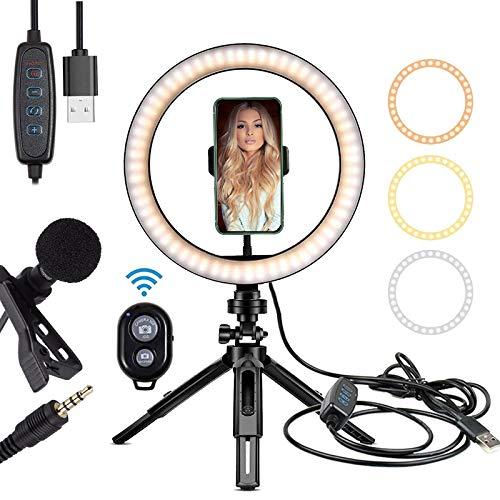Anillo de luz LED de 10 pulgadas regulable con soporte flexible para smartphone y soporte de luz ajustable para fotografía/Maquillaje/Vlogging/transmisión en vivo