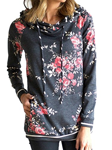 WD-Amour Women's Floral Print Casual Drawstring Long Sleeve Hoodie Pullover Sweatshirts (Large, Dark Grey2)