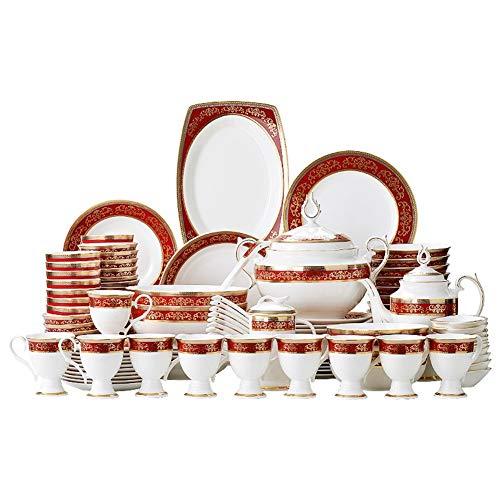 Bone china stoviglie impostato 108 oro broccato avorio ceramica china cucchiaio piatti sottobase (Color : Nirvana)