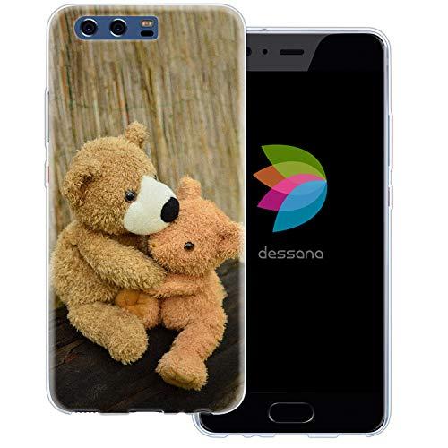 dessana Teddys transparante beschermhoes mobiele telefoon case cover tas voor Huawei, Huawei P10, Knuffelende teddy's.