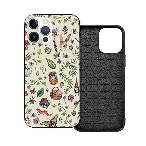 Compatibile con iPhone 12/11 PRO Max 12 Mini SE X/XS Max XR 8 7 6 6s Plus Custodie Cottagecore Light Green Nero Custodie per Telefoni Cover