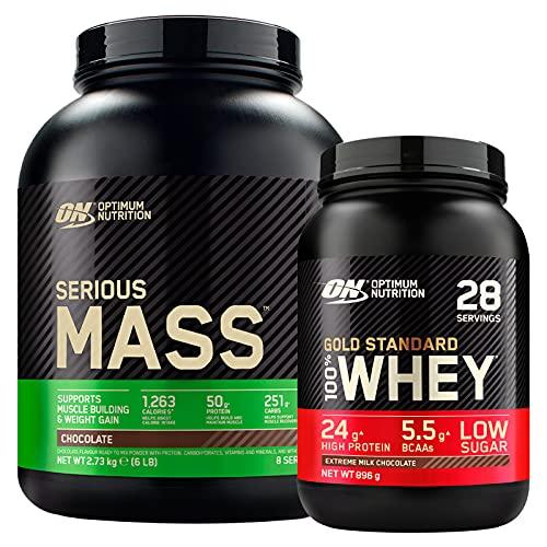 Optimum Nutrition Gold Standard 100% Whey Proteine con Aminoacidi Cioccolato al Latte 896g 28 Porzioni + Serious Mass Gainer Proteine per la Massa Muscolare Cioccolato 2,73kg 8 Porzioni