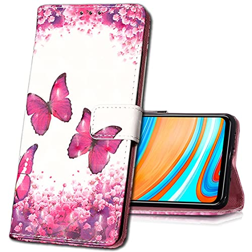 MRSTER Huawei Y6 Pro 2017 Handytasche, Leder Schutzhülle Brieftasche Hülle Flip Hülle 3D Muster Cover Stylish PU Tasche Schutzhülle Handyhüllen für Huawei P9 Lite Mini. YB Red Butterfly