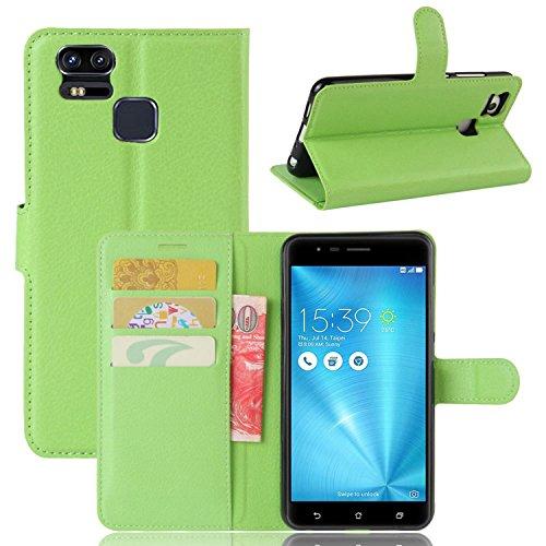 Tasche für Asus ZenFone 3 Zoom ZE553KL (5.5 zoll) Hülle, Ycloud PU Ledertasche Flip Cover Wallet Hülle Handyhülle mit Stand Function Credit Card Slots Bookstyle Purse Design grün