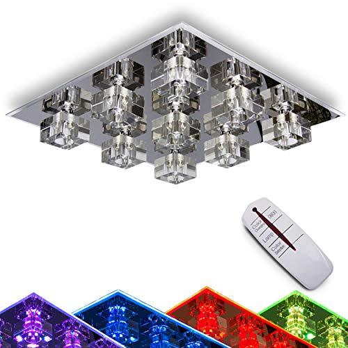 LED Deckenleuchte Burner, Deckenlampe aus Metall/Glas in Chrom, eckige Leuchte mit Glaswürfeln, 9-flammig, mit RGB Farbwechsler u. Fernbedienung
