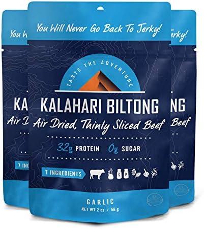 Garlic Kalahari Biltong Air Dried Thinly Sliced Beef 2oz Pack of 3 Sugar Free Gluten Free Keto product image