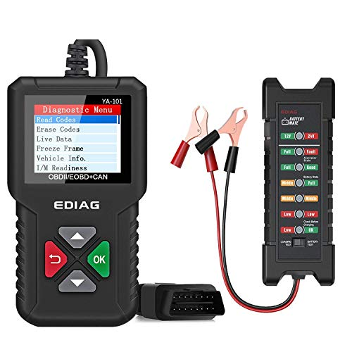 EDIAG OBD2 Scanner YA-101 Car Code Reader for Check Engine Light,O2 Sensor,EVAP Test, On-Board Monitor Test,Smog Check,EDIAG BM410 12V-24V car Battery Tester