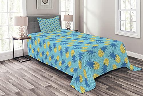 ABAKUHAUS Ananas Tagesdecke Set, Schmackhafte Tropical Sommer, Set mit Kissenbezügen Weicher Stoff, 170 x 220 cm, Azurblau & Senf