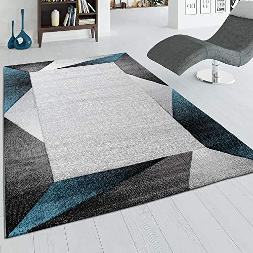Alfombra Salón Pelo Corto Ribetes Y Efecto 3D Beige Turquesa, tamaño:120x170 cm