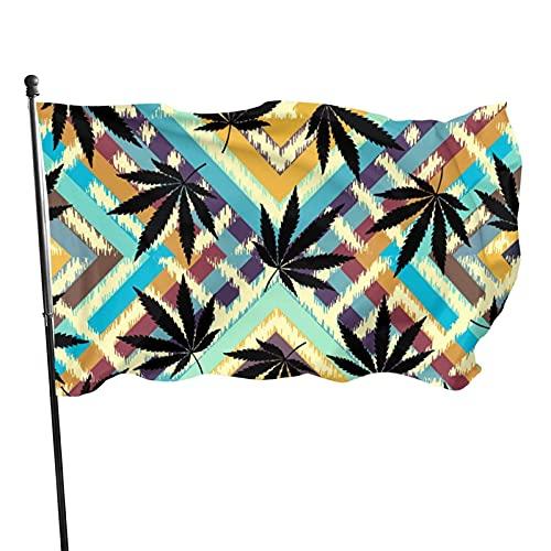 Bandera de Patio de jardín Rastafari Grunge cáñamo hojas1 UV Resistente a la decoloración Exterior Interior Bandera Bandera casa jardín decoración 90 x 150 cm