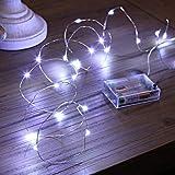 Luces Led a Pilas, Ariceleo 1 Piezas 5 Metros 50 LED Mini LÁMpara Alambre de Cobre Guirnalda Cadena Luces de Navidad con Pilas para Casa Dormitorio Navidad Fiestas Boda DecoraciÓN(Blanco Frío)