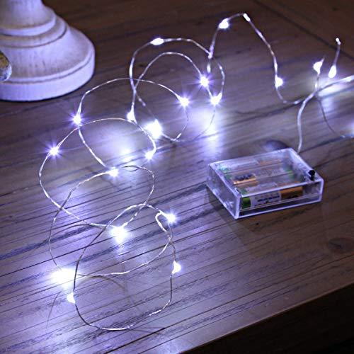 Led Lichterkette Batterie Strombetrieben, 1 Packung Batteriebetrieben 5m 50er Micro LED Kupferdraht Lichterketten für Schlafzimmer, Weihnachten, Innen, Feste, Hochzeiten, Dekoration(Kaltes Weiß)