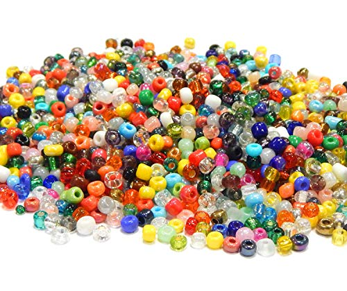 1 kg Seed Beads 2 mm 3 mm 4 mm Glass Beads Mix 6/0 8/0 11/0 Mix Set Round Mini Beads Indian Beads for Jewellery DIY Bracelet Necklace Earring Accessories Crafts 3,6 ~ 4mm Mix colourful
