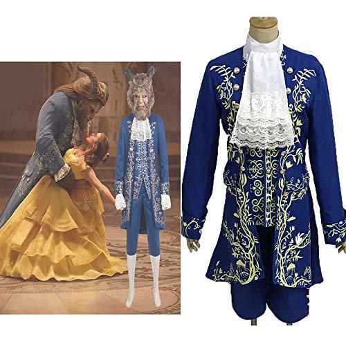 GACOSPLAY Schöne und das Biest Prinz Dan Stevens Blaue Uniform Cosplay Kostüm Outfit Anzug,XXL