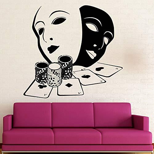 Naipes pegatinas de pared jugador jugador juegos de azar decoración de interiores vinilo tatuajes de pared hombres dormitorio arte máscara mural