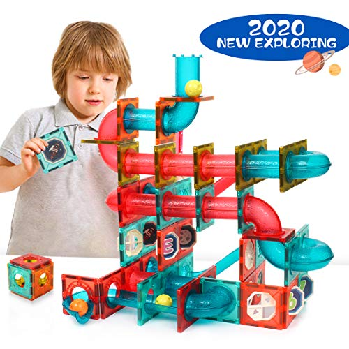 GAMZOO Magnet Marble Run-Speedy Magnetic Tiles Race Track! Building Blocks Toys STEM Learning Kit for Boys Girls Age 4 5 6 7 8+ Years Old (110 pcs)