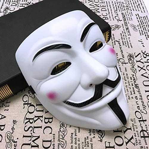 Mcgranny V para disfraz de Anonymous de Vendetta, máscara de miedo, Halloween, cosplay, fiesta de disfraces, con tamaño universal, color blanco