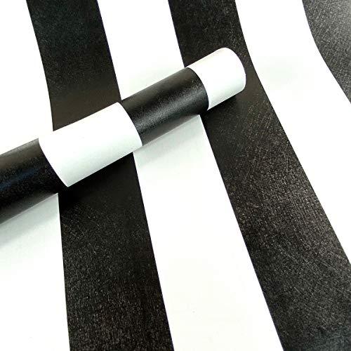 Mesoar weiß schwarz gestreifte Tapete, abziehbar, dekorative Folie, Vinyl-Papier, Schrank, Kommode, Schrank, Schublade, Kleiderschrank, selbstklebende Rückseite, Kunststoffrolle, 45 x 299,7 cm