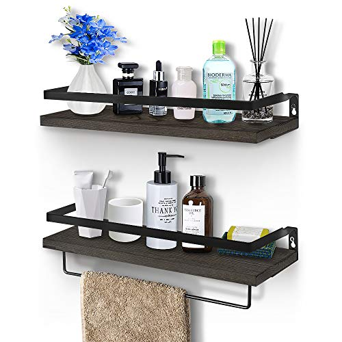 Rustic Floating Wall Shelves with Rails, 2 Sets Wood Wall Storage Shelves for Kitchen, Bedroom, Bathroom, Office, Perfect Home Decorative Storage with Detachable Towel Rack (Antiqued Brown)