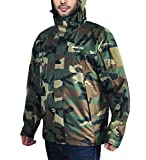 Mens Waterproof Rain Jacket Hooded Breathable Windproof Rain Coat for All Outdoor Sports (Camo, XXL) from
