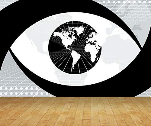 Chicbanners Wereld Kaart Outline Silhouette V2 Muur Papier Achtergrond BACKDROP Scene Setter GROTE Lijm Verzegeld Vinyl 2m hoog x 2,7m breed MAKES IMPACT