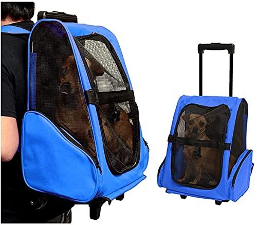 wsbdking Zaino da Compagnia da Compagnia con Ruote Pet Carrier for Cani Piccoli/Medi Spalla Imbottita Regolabile for Viaggi all'aperto (s/m) 5 Colori (Colore: Blu, Dimensione: s)