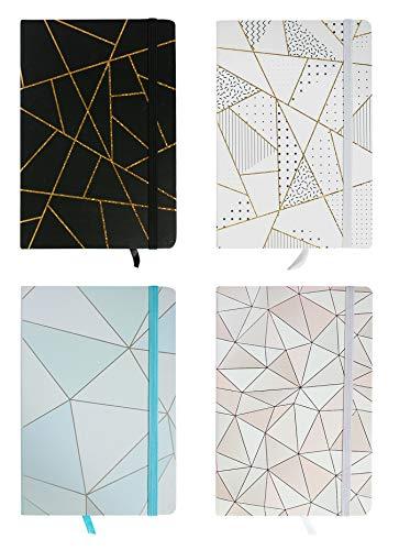 Emartbuy Cuaderno De Ejercicios De Tapa Dura De Mármol Geométrico Diario Cuaderno Bloc De Notas Diario De Escritura Forrado Tamaño A5 96 Hojas (192 Páginas) - Set de 4