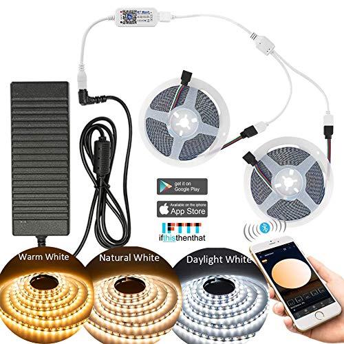 10m Bluetooth Regulable Blanco Cálido Blanco Frío CCT 2 en 1 Tira de luz LED con Fuente de Alimentación de 10A y Controlador, 5025SMD Kit de Tira de luz Barra de luz Barra de luz, 3000k-6000k DC12V