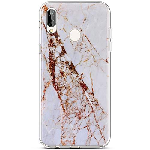 QPOLLY Kompatibel mit Huawei P20 Lite Hülle Weich Silikon mit Marmor Muster Geometrische Marble Design Schutzhülle Ultra Dünn Leicht Flexibel Soft Gel Case Zurück Handyhülle,TPU#2 +EINWEG PAKET