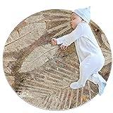 HDFGD Vintage-Teppich mit Blättern, klein, rund, rutschfest, rund, waschbar, für Kinderzimmer, 70 x 70 cm, mehrfarbig03, 100x100cm/39.4x39.4IN