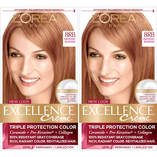 L'Oreal Paris Excellence Creme Permanent Hair Color, 8RB Medium Reddish Blonde, 100% Gray Coverage Hair Dye, Pack of 2