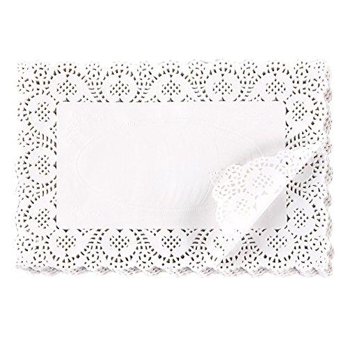 Blondas de papel rectangulares para tartas, postres, presentación de bollería, ideal para bodas, decoración de eventos formales, decoración de vajilla, 19,8 x 30 cm, 200 unidades, color blanco