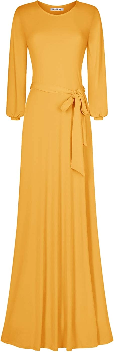 Bon Sales Rosy Women's #MadeInUSA Cuffed Long Maxi Round Sleeve Neck NEW A