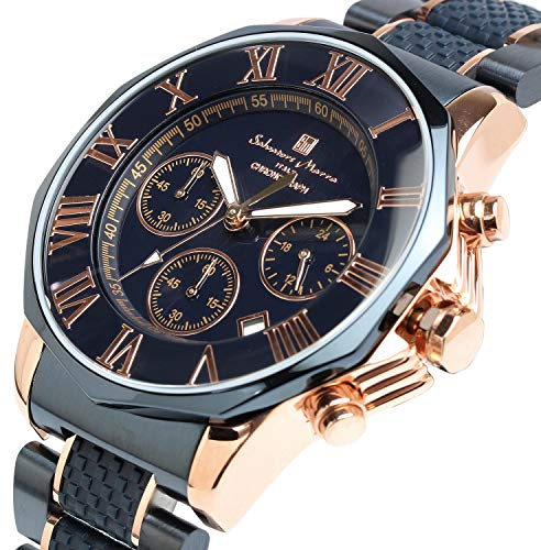 [サルバトーレマーラ]腕時計ウォッチクロノグラフ10気圧防水ビジネスフォーマルイタリアブランド限定モデルメンズSM15104(ネイビー×ピンクゴールド)