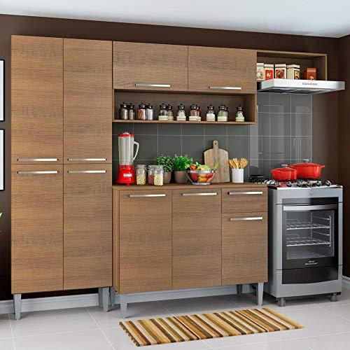 Cozinha Completa Compacta Madesa Emilly com Armário e Balcão Rustic