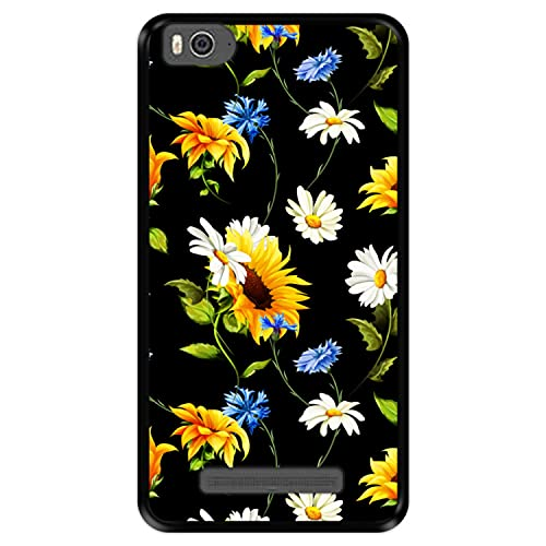 Hapdey Custodia per [ Xiaomi Mi 4c - Mi 4i ] Disegni [ Motivo Floreale, Fiori Multicolori 2 ] Cover Guscio in Silicone Flessibile Nero TPU