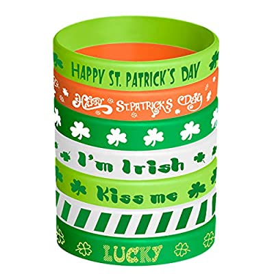 TUPARKA 35 Pcs St. Patrick's Day Rubber Wristbands Shamrock Irish Silicone Bracelet Wristband for Party Favors Kids School Gifts Supplies