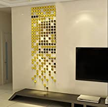 Wall1ders Atulya Arts Offering - 100 Pieces (3 cm Each) Square Mirrors Golden 3D Acrylic Sticker (Golden)