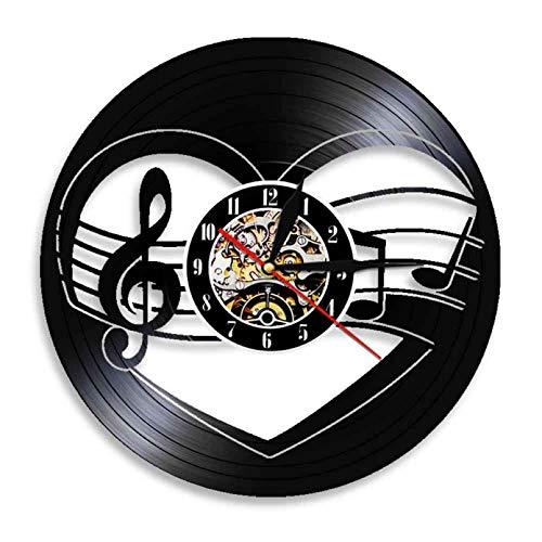 XYVXJ Reloj de Pared con Notas Musicales de músico, Reloj Hecho a Mano con Registro de Vinilo en 3D, Reloj de Pared, decoración del hogar, Relojes LP recortados de 12 Pulgadas
