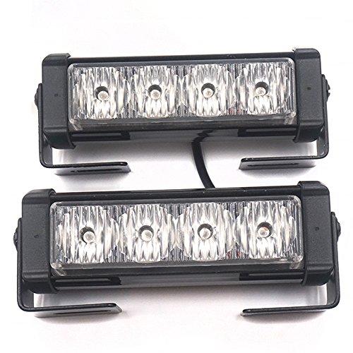 Éclairage de signalisation stroboscopique - Linchview - Flash lumineux, clignotant 2 x 4 LED de 24 W 12 V - Avec câble interrupteur et angle de montage - 7 modes de flash (2 éclairages à LED)