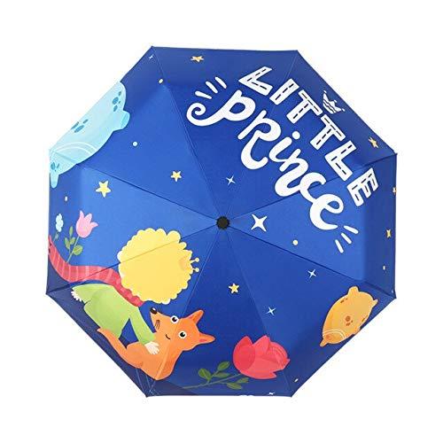 DJMJHG Paraguas Plegable portátil para niños El Principito Paraguas automático para niños Regalo para Estudiantes niños niñas y Adultos elpatrón está afuera