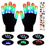 Defrsk Christmas LED Gloves for Kids Novelty Gloves with 10Pcs Stickers Flashing Light Up Gloves Toys Gifts for 3-12 Year Old Girls Boys Costume Cosplay Novelty Christmas Party Favors
